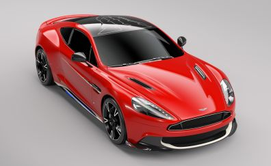 Aston Martin Vanquish, red sports car, front view