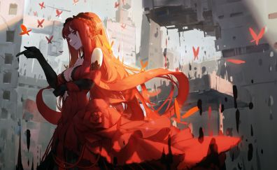Red head, anime girl, original, 4k