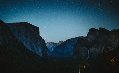 Night at yosemite valley, starry night, national park