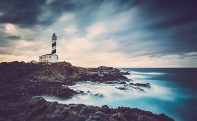 Stormy day, lighthouse, clouds, coast