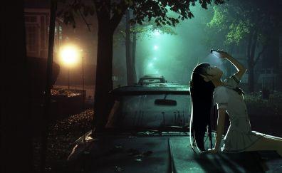 Night, anime girl, long hair