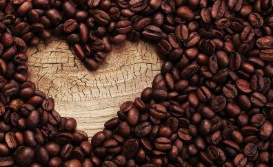 Heart shape, coffee beans, seeds