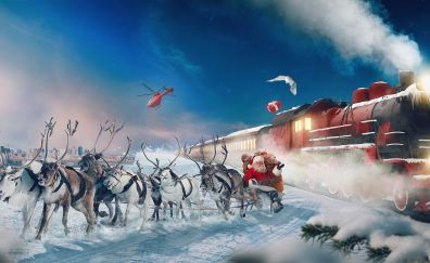 Polar express, reindeer, chariot, santa claus, gifts, train, winter, 4k
