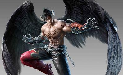 Jin kazama, warrior, tekken 7, arcade game, 5k, wings