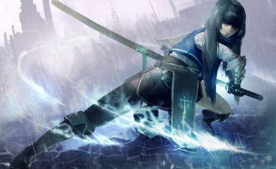 Samurai, anime girl, art, sword