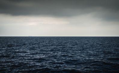 Sea waves, calm sea, skyline, horizon, 5k