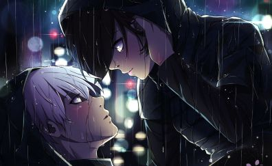 Ken Kaneki, Touka Kirishima, anime, Tokyo Ghoul, rain