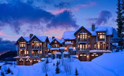 Resort, house, lights, winter, night