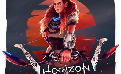 Horizon zero dawn, Aloy, girl warrior