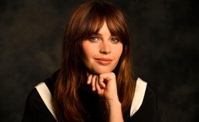 Felicity Jones, smile, popular celebrity, 4k