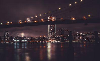Brooklyn bridge, night, city, new york, 5k