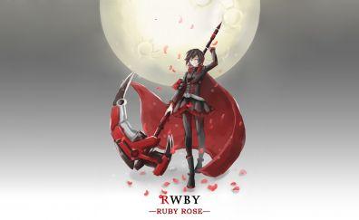 Beautiful, ruby rose, anime girl, rwby
