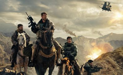 12 Strong, 2018 movie, horse ride, soldiers, 4k