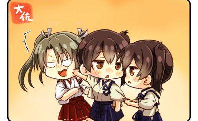 Cute fight, anime girls, kaga, kancolle