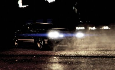 Grand Theft Auto V, video game, night, muscle car