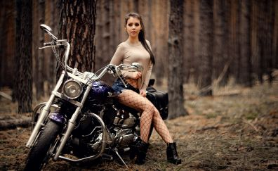 Woman, outdoor, bike