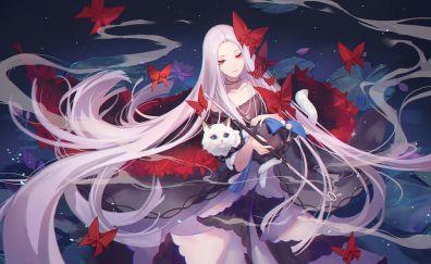 White hair, anime girl, Forever 7th Capital, video game