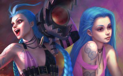 Jinx, blue hair, League of legends, online game, art