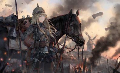 Battlefield, anime girl, horse