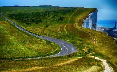 Lighthouse, cliff, coast, road, landscape