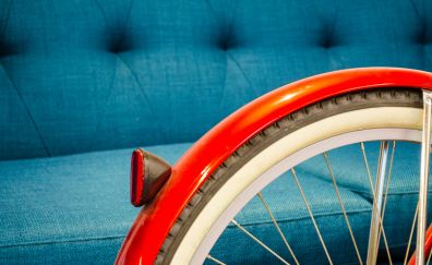 Bike, tyer, orange, sofa