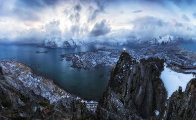Lofoten, Cliff, mountains, clouds, aerial view