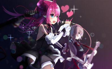 Fate/grand order, anime girls, singing