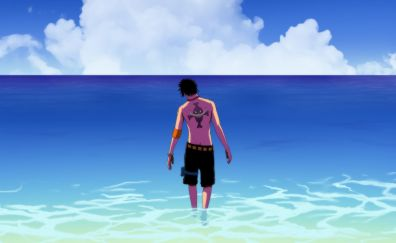 Portgas D. Ace, anime boy, beach