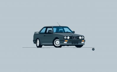 BMW classic car, minimal, front view, art