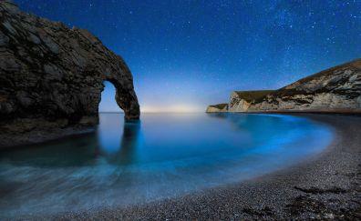 Arch, coast, night, durdle door