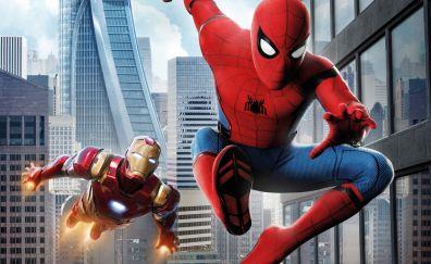 Iron man, Spider man: homecoming, movie, swing, fly, 4k
