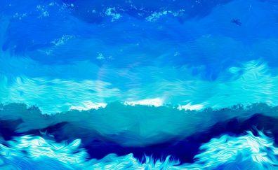 Illustration, blue sky, clouds, artwork