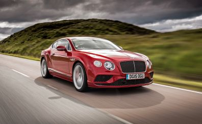 Bentley Continental, red luxury car