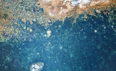 Rocks, stones, beach, clear water, 4k
