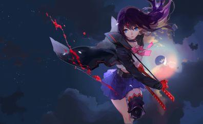 Katana, fight, anime girl, Ryūko Matoi