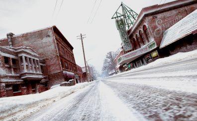 Road, winter, Grand theft auto V, video game