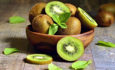 Kiwifruit, green fruits, slices, 4k