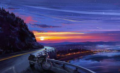 Sunset, motorcycle, road, skyline, illustration, art