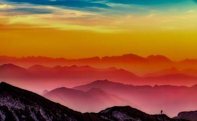 Morning, horizon, landscape, skyline, mist, fog
