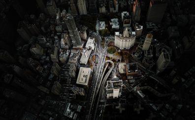 Manhattan city, aerial view