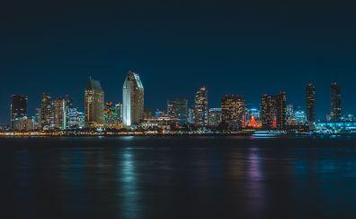 Buildings, San Diego, city, night, lights