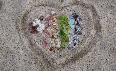 Sand, beach, love, pebbles, heart
