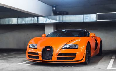 Orange, Bugatti Veyron, luxury, front