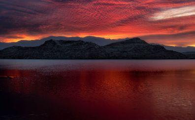Lake, mountains, sunset, Lake Mead, 5k