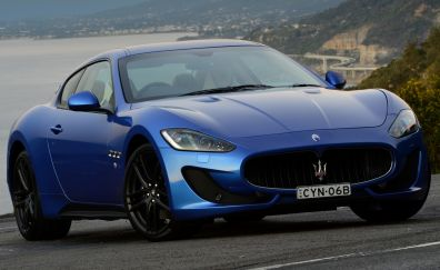 Front, Blue Maserati Granturismo, car