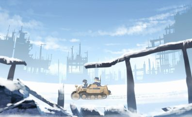 Cute anime girls, soldier, girls' last tour