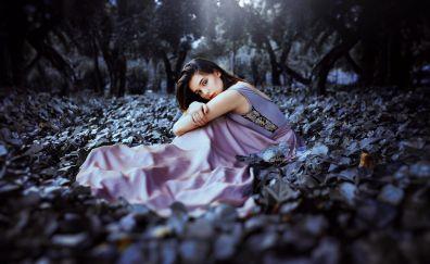 Purple dress, fall, outdoor, girl model