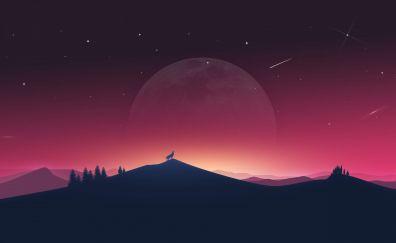 Wolf howling, moon, silhouette, minimal, 4k
