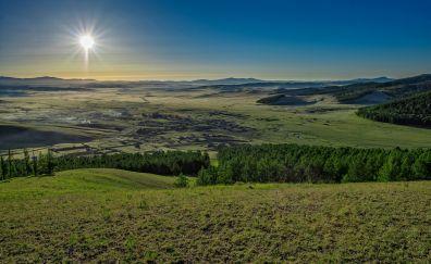 Sun, landscape, village, nature