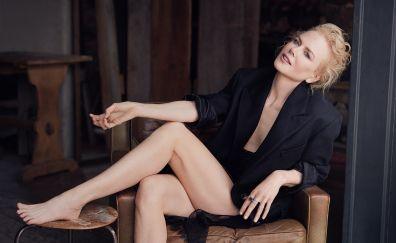 Nicole Kidman, sitting, bare foot, black dress